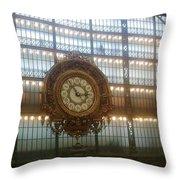 Museum D'orsay Clock Throw Pillow