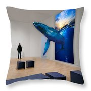 Museum Whale Watching Throw Pillow