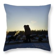 Mushers At Sunrise Throw Pillow