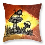 Mushroom And Butterfly Throw Pillow