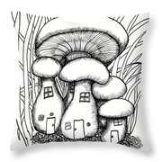 Mushroom Fairy Houses And Grass Throw Pillow