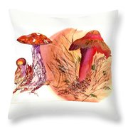 Mushroom Family Throw Pillow