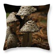 Mushroom Family Throw Pillow