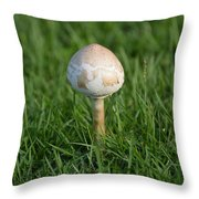 Mushroom In The Grass Throw Pillow