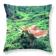 Mushroom In The Green Wood Throw Pillow