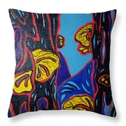 Mushroom On Trees Throw Pillow