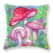 Mushroom Wonderland Throw Pillow