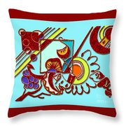 Mushrooms And Grapes Blue Throw Pillow