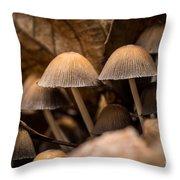 Mushrooms Hidden Between The Leaves Throw Pillow