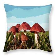 Mushrooms In Autumn Throw Pillow