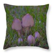 Mushrooms In Grass Throw Pillow