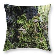 Mushroom Colony Throw Pillow