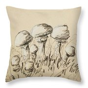 Mushrooms On Toned Paper With Charcoal Throw Pillow