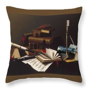 Music And Literature By William Michael Harnett Throw Pillow