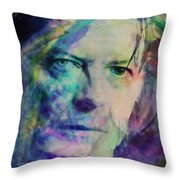 Music Icons - David Bowie Ill Throw Pillow