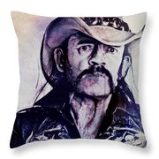Music Icons - Lemmy Kilmister Iv Throw Pillow