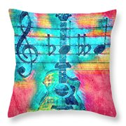 Music Is Everything In Colors Throw Pillow