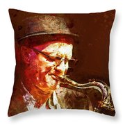 Music - Jazz Sax Player With A Hat Throw Pillow