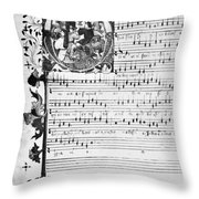Music Manuscript, 1450 Throw Pillow