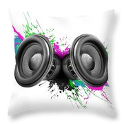 Music Speakers Colorful Design Throw Pillow