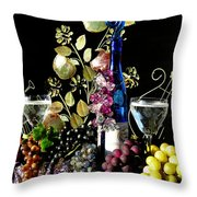 Music With Wine Throw Pillow