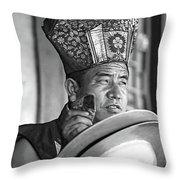 Musical Monk Bw Throw Pillow
