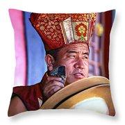 Musical Monk Throw Pillow