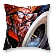 Musical Monk Watercolor Throw Pillow