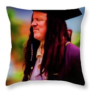 Musician In Pirate Hat And Dreadlocks - In Watercolor Photo Throw Pillow