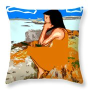 Musician With Tin Whistle Throw Pillow