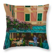 Musicians' Stroll In Portofino Throw Pillow by Charlotte Blanchard