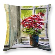 Musing-gerberas At The Window Throw Pillow