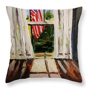 Musing-glory Through The Window Throw Pillow