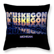 Muskegon Channel Sunset Throw Pillow