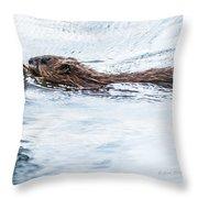 Muskrat Spring Swim Throw Pillow