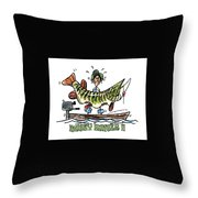 Musky Hunter - Cartoon Throw Pillow by Peter McCoy
