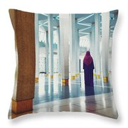 Muslim Woman Dressed In The Traditional Islam Clothing Standing Inside National Mosque In Malaysia Throw Pillow