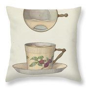 Mustache Cup And Saucer Throw Pillow