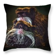 Mustached Monkeys Emperor Tamarins  Throw Pillow