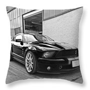 Mustang Alley In Black And White Throw Pillow