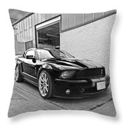 Mustang Alley In Black And White Throw Pillow by Gill Billington