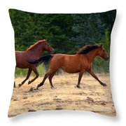 Mustang Gallop Throw Pillow by Mike  Dawson