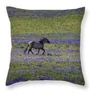Mustang In Lupine 1 Throw Pillow by Roger Snyder