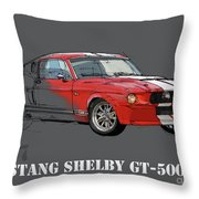 Mustang Shelby Gt500 Red, Handmade Drawing, Original Classic Car For Man Cave Decoration Throw Pillow