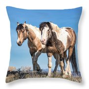 Mustang Twin Stallions Throw Pillow