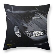 Mustang With Flames Throw Pillow