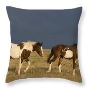 Mustangs In Nevada Throw Pillow