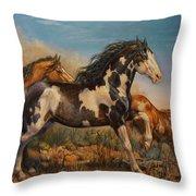 Mustangs On The Run Throw Pillow