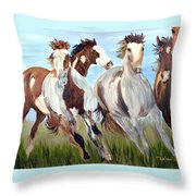 Mustangs Running Free Throw Pillow
