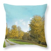 Mustard Yellow Trees And Landscape Throw Pillow